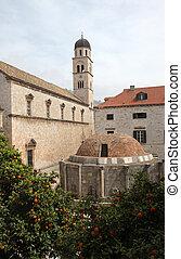 大きい, 修道院, franciscan, 噴水, onofrio, dubrovnik