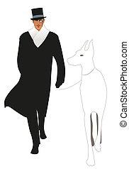 大きい, 優雅である, monocle, スタイル, シルクハット, レトロ, 犬, 紳士, 歩くこと, 身に着けていること, 衣服