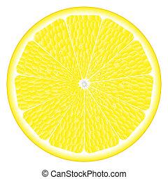大きい, 円, の, レモン
