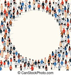 大きい, 円, グループ, 形。, 人々