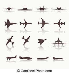 大きい, 別, 飛行機, コレクション, icons.