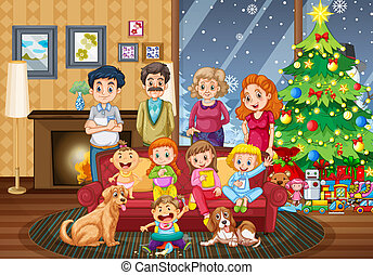 大きい, 収集, クリスマス, 家族 日