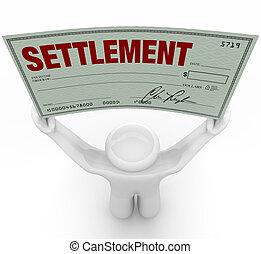 大きい, 合意, 保有物の お金, 和解, 点検, 人