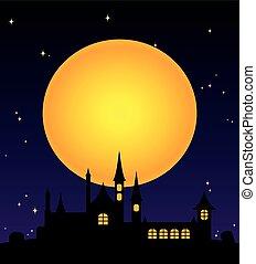 大きい, 夜, クリスマス, 黄色の月