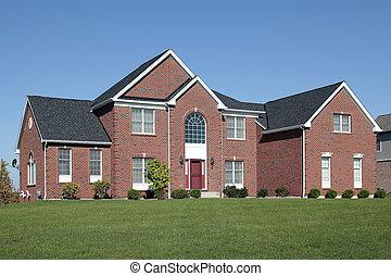 大きい, 家, れんが, ドア, 赤