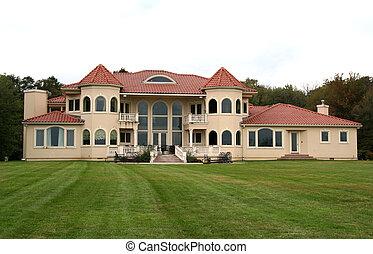 大きい, 家, 庭, 背中, 贅沢
