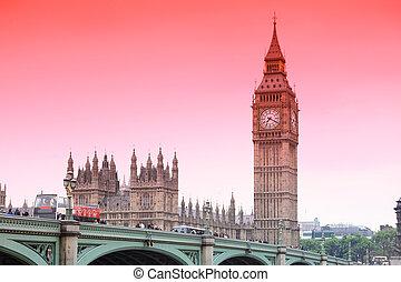 大きい, 建築, gothic, 日没, イギリス, ロンドン, ベン