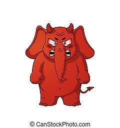 大きい, 怒る, character., 隔離された, コレクション, ベクトル, elephants., devil., elephant., 漫画, horns., 赤