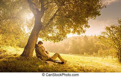 大きい, 恋人, 公園, 木, 秋, 下に, 情事