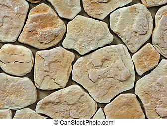 大きい, 手ざわり, の, 石の壁