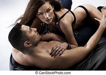 大きい 打撃, の, sensual, 女, ∥で∥, 彼女, ボーイフレンド