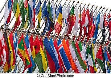 大きい, 数, の, 国民, 旗, 飛行
