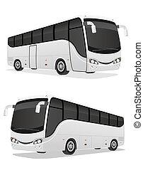 大きい, 旅行, イラスト, バス