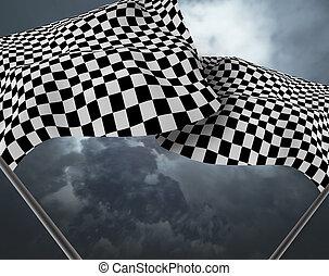 大きい, 旗, checkered