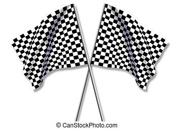 大きい, 旗, checkered, 2