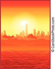 大きい, 日没, 都市