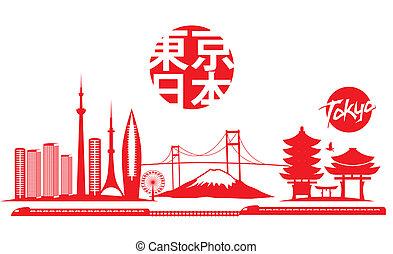 大きい, 東京, ベクトル, 芸術, 都市