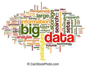 大きい, 概念, 単語, 雲, データ