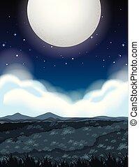 大きい, 満月, 夜