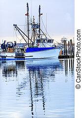 大きい, 漁船, westport, 灰色, 港, ワシントン州