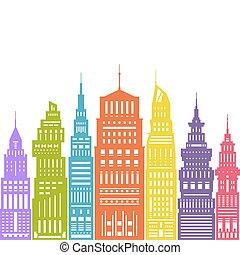 大きい, 現代, カラフルである, 都市