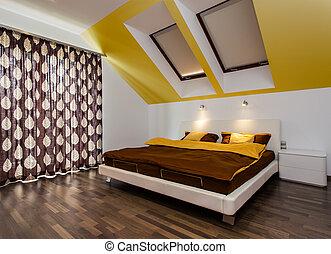 大きい, 現代, ベッド, 寝室