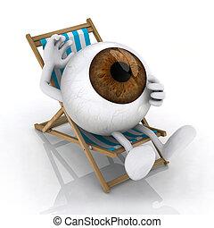 ∥, 大きい, 目, ビーチの上に横たわる, 椅子