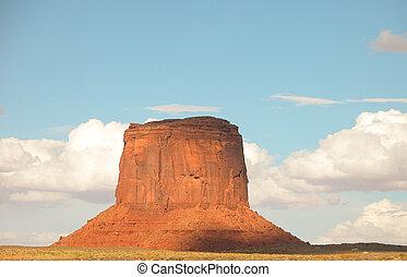 大きい, 砂岩, 柱, 舞い上がりなさい, の上, 画像的, モニュメント峡谷, ∥において∥, 日没, u.s.a 。