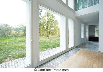 大きい, 窓, 現代, 家