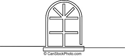 大きい, 窓, 白い背景, アイコン