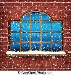 大きい, 窓, 雪