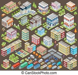 大きい, 等大, セット, 建物, 家