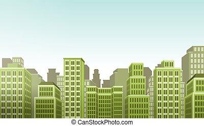 大きい, 緑, カラフルである, 風景, 都市
