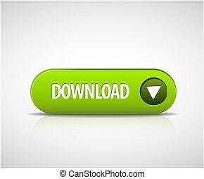 大きい, 緑, ダウンロード, 今, ボタン
