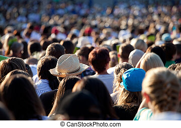 大きい, 群集, の, 人々