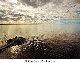 大きい, 航空写真, 湖, 光景