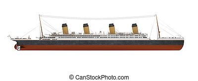 大きい, 船, ライナー, サイド光景