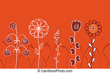 大きい, 花, 中に, ∥, 草, 上に, ∥, 赤い背景