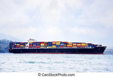 大きい, 貨物船, 中に, 水, 届く, カラフルである, 出荷, 容器