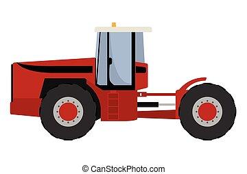 大きい, 赤いトラクター