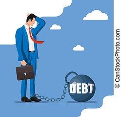 大きい, 重量, 負債, ビジネスマン, 鎖でつながれた, 重い