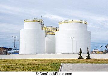 大きい, 鋼鉄, 貯蔵, グループ, タンク, 精製所