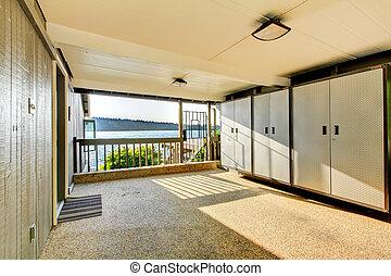大きい, 開いた, カバーされた, ガレージ, 記憶域, ∥で∥, 戸棚, そして, 岩, floor.
