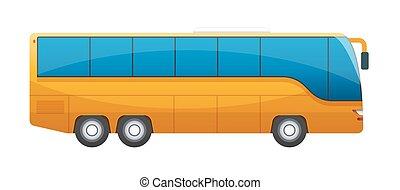 大きい, 隔離された, バックグラウンド。, 旅行 バス, オレンジ, 白