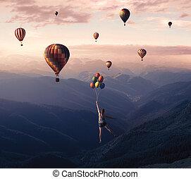 大きい, 飛行, 風船
