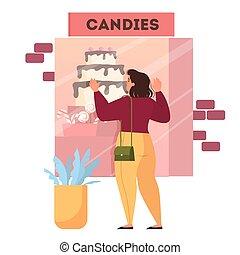 大きい, 食事, 女性の見ること, cake., 脂肪
