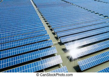 大きい, 駅, 太陽エネルギー, の上