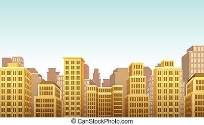 大きい, 黄色, カラフルである, 風景, 都市