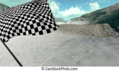大きい, checkered の 旗