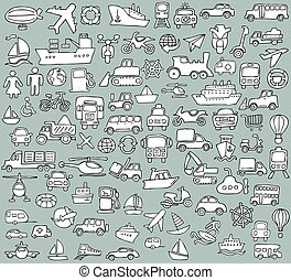 大きい, doodled, 交通機関, アイコン, コレクション, 中に, 白黒